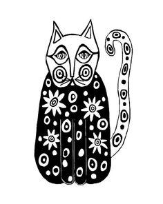 Black and white folk art cat print by Cinda from TwigsAndLace