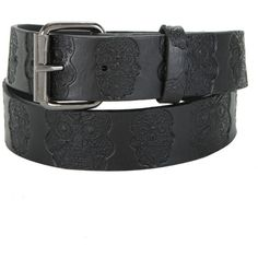 Hot Topic Embossed Sugar Skull Black Belt ($14) ❤ liked on Polyvore featuring accessories, belts, blue belt and embossed belt
