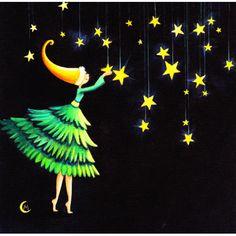 """Marie Cardouat carte postale carrée (14 cm) """"la fée aux étoiles"""""""