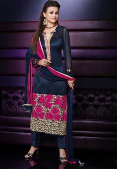 Ink Blue and Pink Chanderi Party Wear Suit 6800/-