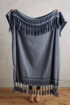Slide View: 1: Roped Fringe Throw Blanket
