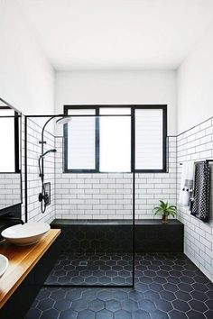 Lovely Black And White Bathroom With An Open Shower Dark Floor Subway Tiles