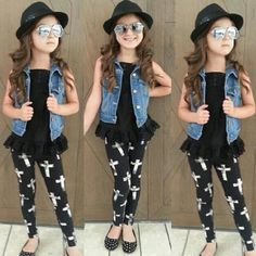 Super cute outfit for my little girl. Jean vest, cross leggings, and a fedora. Little girl fashion. Little fashionista. Little Girl Outfits, Cute Outfits For Kids, Little Girl Fashion, Cute Little Girls, Fashion Kids, Toddler Fashion, Cute Fashion, Outfits Niños, Fashion Outfits