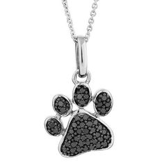 Sterling Silver Black Diamond Paw Print Pendant Necklace 1/3ctw