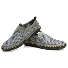 Men Mesh Leather Breathable Light Holllow Out Slip On Casual Shoes - NewChic