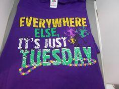 T Shirt Mardi Gras  Everywhere Else It's Tuesday  Purple Medium New Tags #Unbranded #GraphicTee