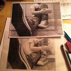 6. Foreshortening is when an object looks shorter from the angle you are looking at it, then it would look if you were standing up. You can see foreshortening in this image because the leg looks way shorter than it actually is.