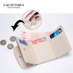 A1349 2017 fashion PU leacher LACATTURA  Brands wallet card holder short lip seal patchwork hasp purse cute carteira