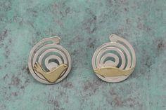 Silver & Gold fish spiral earrings  14K Gold by ShragaLandesmanArt