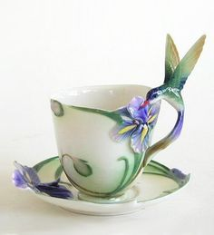 Franz -Hummingbird Cup and Saucer with Spoon