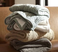 Cozy Cable-Knit Throw | Pottery Barn....LOVE! Especially the taupe and gray. :)