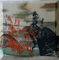 Old woman with rabbit  Mixed media on canvas by David Nemeth