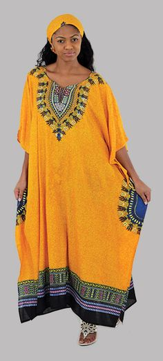 Traditional African Print Kaftan - Beautiful and bold African kaftan dress.  Bright orange dress with neon African patterns.  Celebrate your love of Africa with this comfortable and classy African kaftan dress.  Perfect for wearing for travel since its both comfortable and classy.  Click to see all of the color options.  #africanfashion #fashion #africa #african #style #stylish #womensstyle #dressup #dressy #womensfashion #womensdress