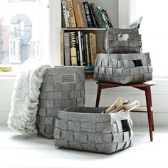 Woven Felt Baskets - mimic design for bedspread and throw pillows