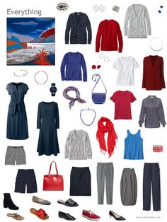 a capsule wardrobe in shades of blue, red, and grey based on the Hermes scarf Au Bout du Monde