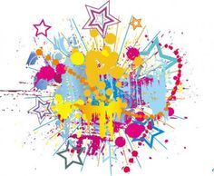 Colorful Bright Ink Splashes with Stars Vector Background