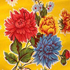 Toile cirée 120 cm imprimé chrysanthème fond jaune Kitsch kitche