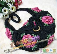Flowered crochet bag