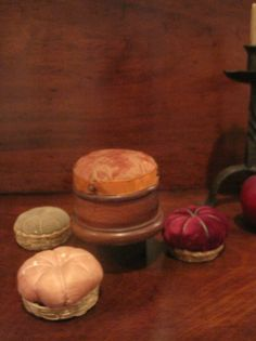 Antique 1800s New England Shaker 3 Pincushions & Walnut Thread Caddy AAFA #Americana #Shakers