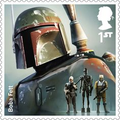 A Royal Mail stamp featuring Boba Fett