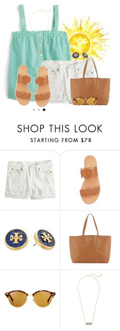 """Thank you everyone who has encouraged @livnewell and continues to encourage her!"" by flroasburn ❤ liked on Polyvore featuring J.Crew, Jack Rogers, Tory Burch, Ray-Ban and Kendra Scott"