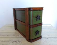 Sewing Machine Drawers in Green. Ready to Ship Sewing Machine Drawers, Sewing Cabinet, Sewing Machine Parts, Antique Sewing Machines, Sewing Box, Set Of Drawers, Old Drawers, Repurposed Items, Repurposed Furniture