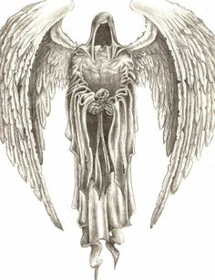 winged angel holding a cross instead