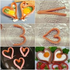 A romantic breakfast for two, with eggs and sausages. Romantic Breakfast, Perfect Breakfast, Huevos Fritos, Good Food, Yummy Food, Sausage And Egg, Creative Food, Food Hacks, Food Art