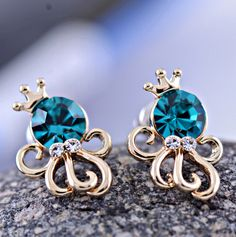 Crowned Octopus Colorful Rhinestone Earrings from LilyFair Jewelry, $11.99!