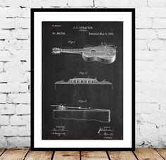 Acoustic Guitar Patent Acoustic Guitar Poster Acoustic Guitar Print Acoustic Guitar Decor Acoustic Guitar Blueprint