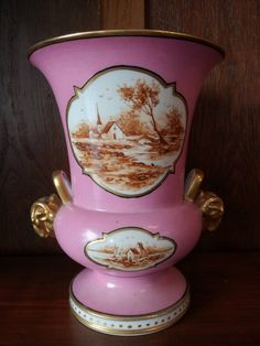 Check out this item in my Etsy shop https://www.etsy.com/listing/261530444/antique-french-vase-pink-gold-porcelain