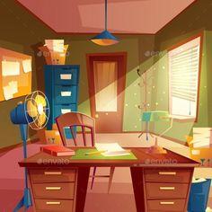 vector fan study table interior desktop space working background illustration cartoon clip lamp animation cabinet anime vectors casa window backgrounds