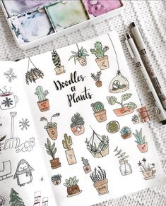 More doodle inspiration! Create cute plant doodles in your bullet journal or planner. Fun, easy to make doodles anyone can draw! Self Care Bullet Journal, Bullet Journal Spread, Bullet Journal Inspiration, Journal Ideas, Bullet Journal Doodles Ideas, Doodling Journal, Poetry Journal, Bullet Journals, Art Journals