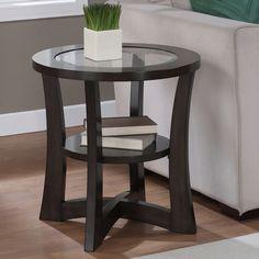 Eclipse Espresso Glass Top End Table