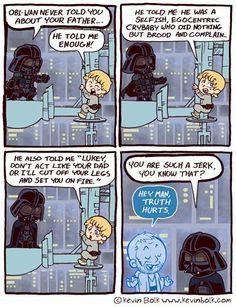 You are such a jerk Star Wars / Darth Vader / Luke Skywalker / Obi Wan Star Wars Comic, Film Star Wars, Star Wars Cartoon, Theme Star Wars, Star Wars Jokes, Star Wars Rebels, Obi Wan, Father Cartoon, Guerra Dos Clones