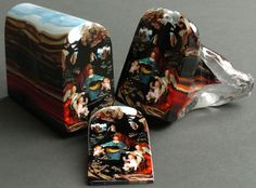 "Loren Stump ""Murrine is an Italian term for colored patterns or images made in a glass cane that are revealed when cut in cross-sections."""