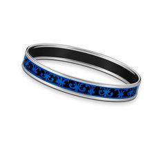 """Balcons du Guadalquivir  Hermes narrow printed enamel bracelet  Silver and palladium plated, 0.5"""" wide, 2.5"""" diameter."""