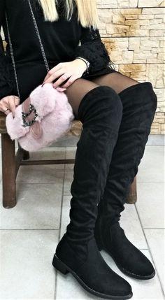 Stivali donna 592 0282 nero stivale gamba alta invernale 2018 2019 tacco  basso 7aef3a85a79