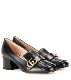 Gucci - Leather loafer pumps - We love the fringed update to these loafer-style pumps from Gucci. The black-hued leather upper is adorned with the house's GG logo in golden metal and finished with a chunky block heel. Team them with your vintage wardrobe mainstays for a flirty retro vibe. seen @ www.mytheresa.com