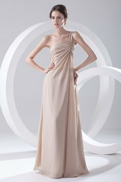 Chiffon One-Shoulder Column Floor Length Prom Dress - WooVow