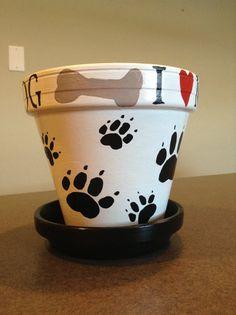 Black and White Hand Painted I Love My Dog Flowerpot Flower Pot Art, Flower Pot Design, Clay Flower Pots, Flower Pot Crafts, Clay Pots, Clay Pot Projects, Clay Pot Crafts, Diy Crafts, Painted Plant Pots