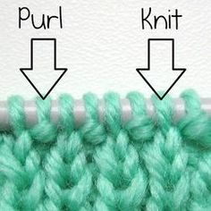 "cajunmama: ""Recognizing knit & purl stitches: The purl stitches have a horizontal bar (a little bump) under the stitch on the needle. The knit stitches do not. """