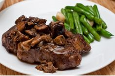 Bison with Mushrooms and Onions Recipe--- Blood type o-nonsecretor might want to omit the Balsamic vinegar Bison Recipes, Steak Recipes, Paleo Recipes, Real Food Recipes, Cooking Recipes, Cooking Videos, Copycat Recipes, Buffalo Steak Recipe, Bison Meat