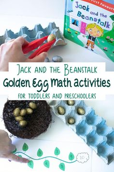 Simple to set up math activity for toddlers and preschoolers (with extensions for older kids) inspired by Jack and the Beanstalk and the golden egg. Number Games For Toddlers, Math Activities For Toddlers, Fairy Tale Activities, Shapes For Toddlers, Number Activities, Fun Math Games, Counting Activities, Preschool Eggs, Toddler Preschool