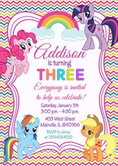 My Little Pony Birthday Party Invitation  por PrettyPaperPixels