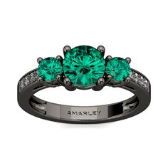 #Amarley Chic Sterling Silver 0.25 CT. Round Cut Emerald CZ Cubic Zirconia 3 Stone Ring. Priced at $75.95 - Subject to change depending on the supplier. Was $165.