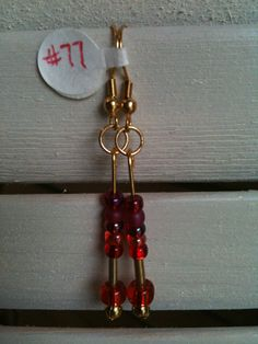 MultiRED beads on gold wires 77 by GodsGlitter on Etsy, $4.00