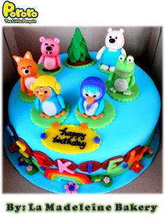 Pororo and Friends Cake Arctic Penguins, Friends Cake, Birthday Cake, Cakes, Desserts, Food, Tailgate Desserts, Deserts, Cake Makers