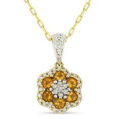 0.50ct Round Cut Citrine & Diamond Pave Flower Pendant & Chain Necklace in 14k Yellow & White Gold - AlfredAndVincent.com