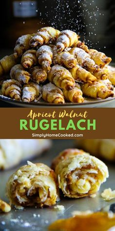 Quick Dessert Recipes, Gourmet Recipes, Sweet Recipes, Baking Recipes, Rugelach Cookies, Rugelach Recipe, Yummy Appetizers, Appetizer Recipes, Apple Recipes